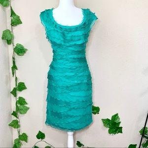 Tadashi Shoji Ruffle Silk Blue Cocktail Dress
